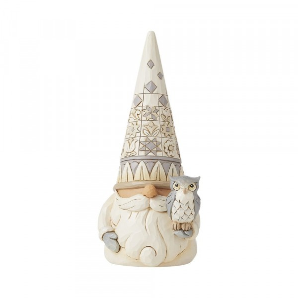 Jim Shore, Heartwood Creek, Jim Shore Gnome, Heartwood Creek Gnomes, Jim Shore Wichtel, 6008864, Woodland Gnome with Owl, Wichtel mit Eule, White Woodland Collection