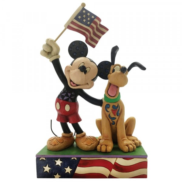 Disney Traditions von Jim Shore, A Banner Day, Mickey and Pluto Patriotic Figurine