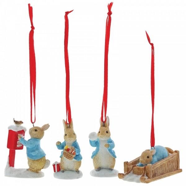 Beatrix Potter, Beatrix Potter Collection, Peter Rabbit, Benjamin Bunny, Flopsy, Jemima Puddle-Duck, Jeremy Fisher, A29927, Peter Rabbit Set mit 4 Ornamenten, Set of 4 Hanging Ornaments