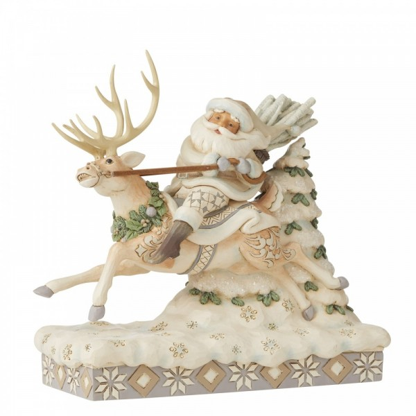 Heartwood Creek, Jim Shore, On Course For Christmas, Santa Riding Reindeer, Auf Weihnachtskurs, Santa, Weihnachtsmann