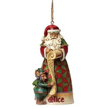 Heartwood Creek, Jim Shore, Naughty & Nice Ornament, Böse und Gut, Weihnachtsmann, Anhänger