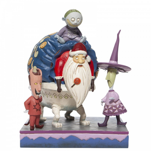 Disney Traditions , Jim Shore, Disneyfigur, Disney Figur, Lock, Shock and Barrel with Santa, Lock, Shock und Barrel mit Weihnachtsmann, The Nightmare Before Christmas, 6007076