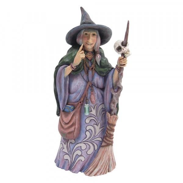 Jim Shore, Heartwood Creek, Jim Shore Halloween, 6009507, Witch with Broom and Skull, Hexe mit Besen und Totenkopf, Halloween Hexe
