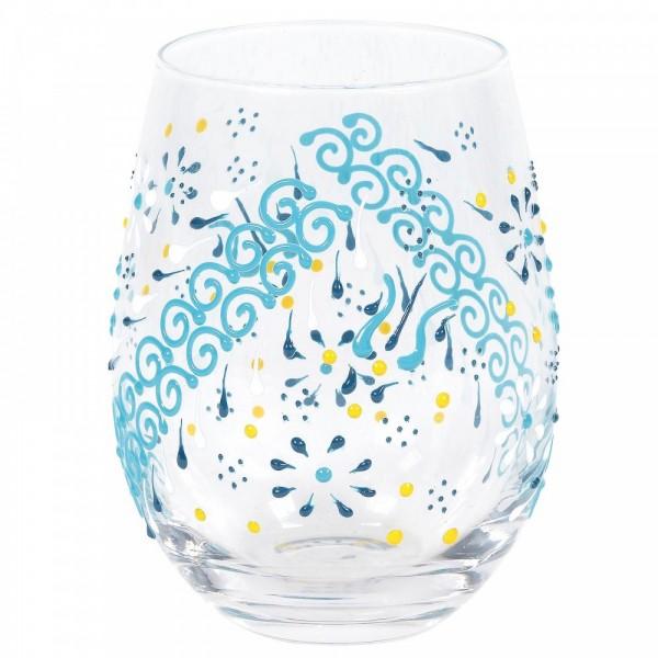 Izzy and Oliver, Trinkglas, Trinkgläser, handbemalte Gläser, Indigo Henna Glas, Indigo Henna Glass, 6007014