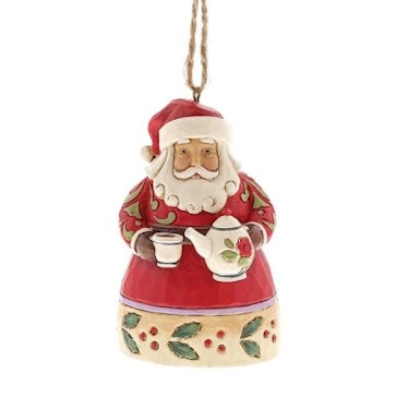 Mini Santa with Teapot Ornament