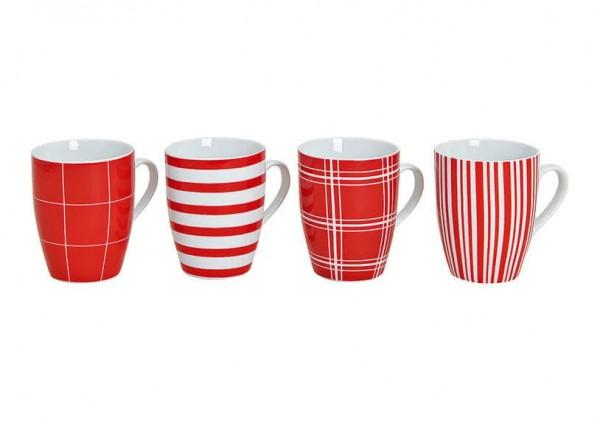 Kaffeebecher, Teebecher, Becher aus Porzellan, Becher rot-weiß, Tasse, rot-weiß gestreifte Becher, 10018942