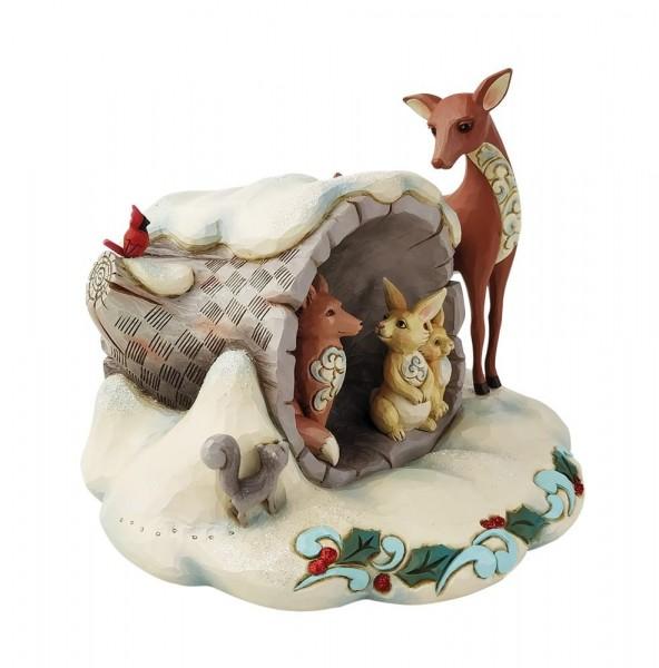 Jim Shore, Heartwood Creek, Jim Shore Weihnachten, 6009487, Winter Wonderland Hollow Log with Animals, Winter Wonderland Baumstamm mit Waldtieren
