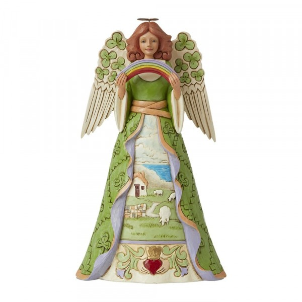 Jim Shore, Heartwood Creek, Jim Shore Engel, Jim Shore Angel, 6008403, Blessings Be Upon 'Ye', Irish Angel with Shamrock Wings, Irischer Engel