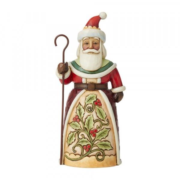 Jim Shore, Heartwood Creek, Jim Shore Weihnachten, 6009003, Pint Sized Santa with Holly, Weihnachtsmann mit Stechpalme, Jim Shore Santa, Jim Shore Weihnachtsmann, Heartwood Creek Santa, Heartwood Creek Weihnachtsmann