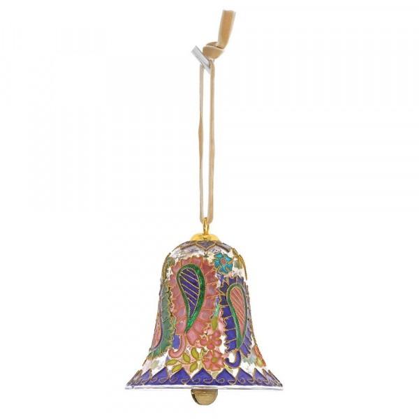 Enesco's Treasury of Ornaments, handbemalt, mundgeblasen, Paisley Bell, Glaskugel, Glasglocke, Anhänger, Glasanhänger