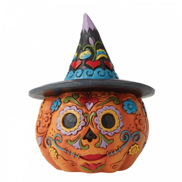 Heartwood Creek, Jim Shore, Halloween, Day of the Dead Jack-o-Lantern with Witch Hat, 6006703