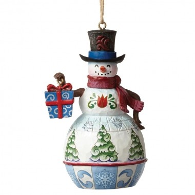 Heartwood Creek, Jim Shore, Snowman with Gift Ornament, Schneemann mit Geschenk, Anhänger