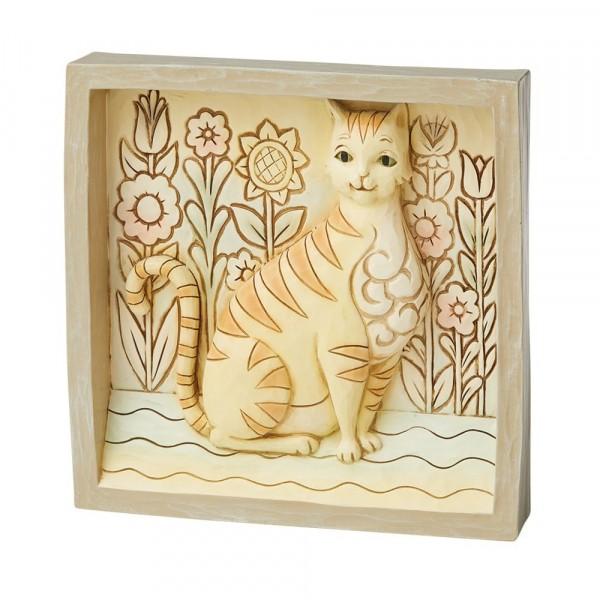 Jim Shore, Heartwood Creek, Yellow Cat Plaque, Gelbe Katze Plaque, Bild mit gelber Katze, 6009337, Volkskunst