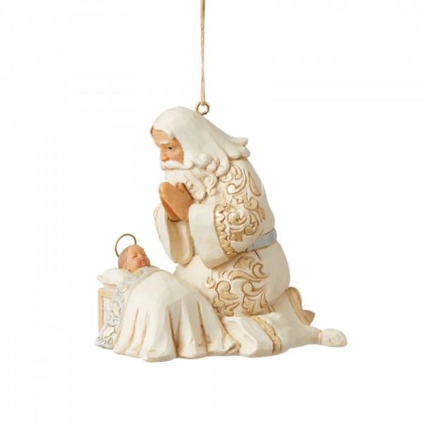 Jim Shore, Heartwood Creek, Jim Shore Weihnachten, Holiday Lustre Collection. 6009400, Holiday Lustre Santa with Baby Jesus Ornament, Jim Shore Weihnachtsmann, Jim Shore Santa