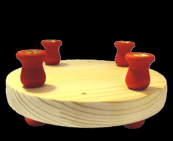 Sebastian Design, skandinavische Kerzenringe, Kerzenring, Kerzenringe, Candlerings, Steckfigur, roter massiver Kerzenring, 46-399-120
