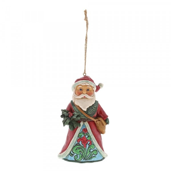 Heartwood Creek, Jim Shore, Winter Wonderland Holly Santa Ornament, Weihnachtsmann, Anhänger