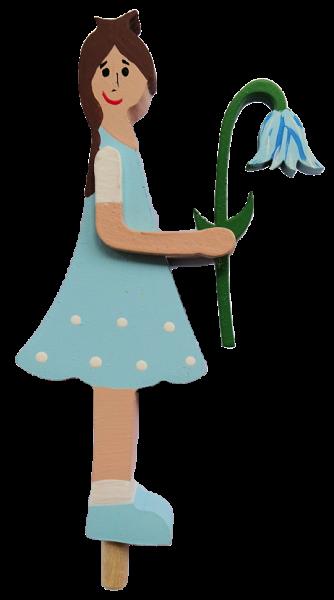 Blumenmädchen mit Glockenblume, hellblau