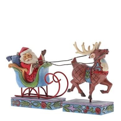Heartwood Creek, Jim Shore, Santa in Sleigh with Reindeer, Weihnachtmann im Schlitten mit Rentier