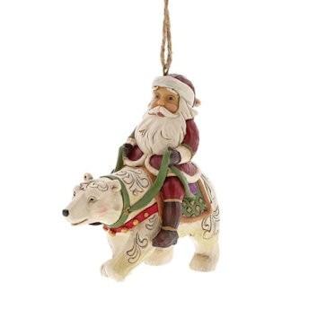 Heartwood Creek, Jim Shore, Santa Riding Polar Bear Ornament, Weihnachtsmann aus Eisbär, Anhänger
