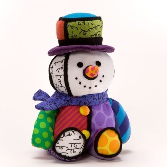 Romero Britto Pop Art aus Miami - Musical Snowman Plush / Plüsch Spieluhr Schneemann