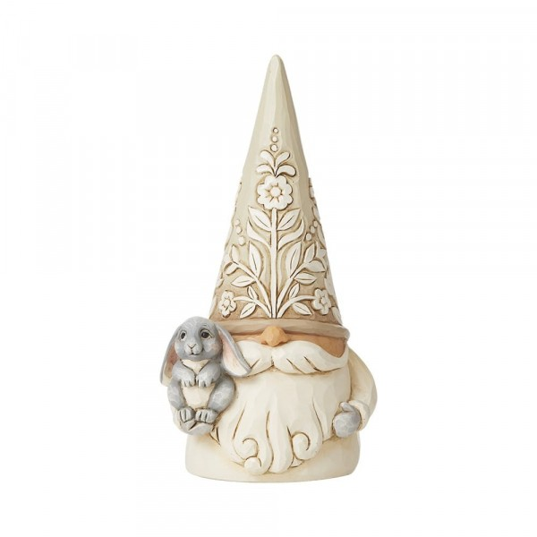 Jim Shore, Heartwood Creek, Jim Shore Gnome, Heartwood Creek Gnomes, Jim Shore Wichtel, 6008865, Woodland Gnome with Bunny, Wichtel mit Hase, White Woodland Collection
