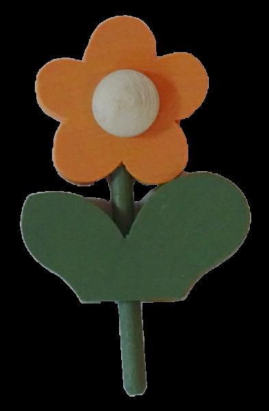 Blume mit Blatt, klein, orange