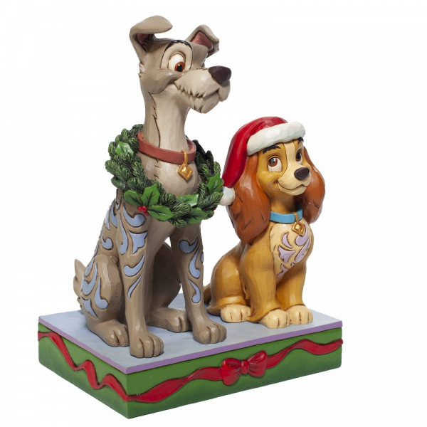Disney Traditions , Jim Shore, Disneyfigur, Disney Figur, Decked out Dogs, Lady and The Tramp Christmas, Susi und Strolch, Weihnachtsfigur, 6007071