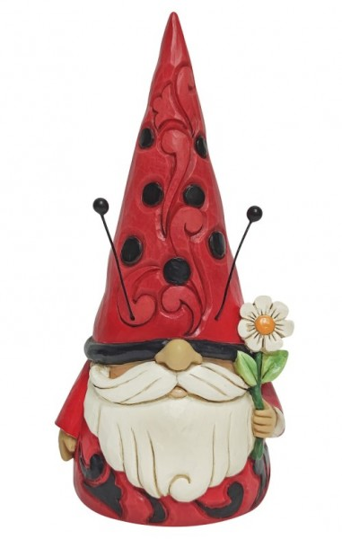 Jim Shore, Heartwood Creek, Jim Shore Heartwood Creek, Jim Shore Gnome, 6010288, Cute As A Bug Gnome, Marienkäfer-Wichtel, Süß wie ein Käfer, Jim Shore Wichtel