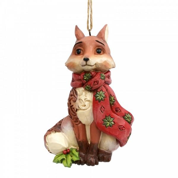 Jim Shore, Heartwood Creek, Handarbeit, Folk-Art, Wonderland Collection, Festively Foxy, Wonderland Fox, Fuchs, Ornament, Anhänger, Weihnachtsanhänger, Tannenbaumanhänger, Christbaumanhänger