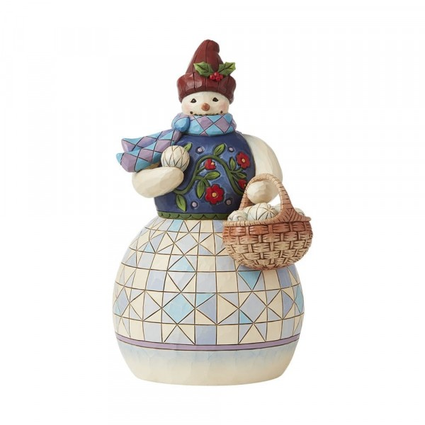 Jim Shore, Heartwood Creek, Jim Shore Weihnachten, 6008919, Snowman with Basket of Snowballs, Schneemann mit Schneebällen, Jim Shore Schneemann, Jim Shore Snowman, Heartwood Creek Snowman, Heartwood Creek Schneemann