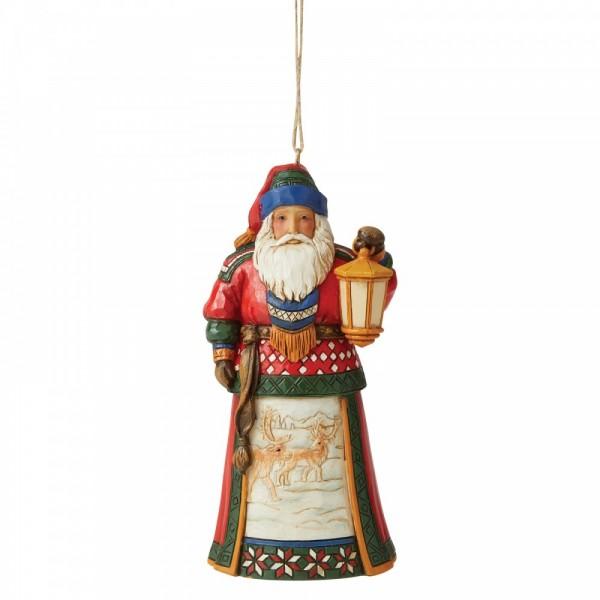 Heartwood Creek, Jim Shore, Lapland Santa with Lantern Ornament, Lapland Weihnachtsmann mit Laterne, Anhänger, Weihnachtsanhänger, Tannenbaumanhänger, Christbaumanhänger