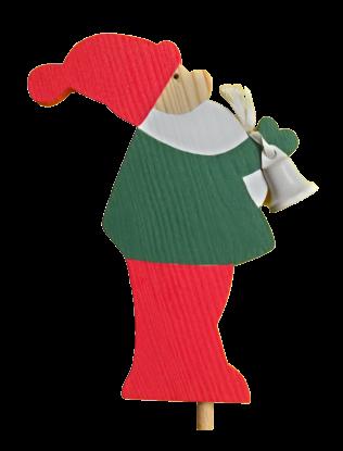 Sebastian Design, Kerzenringe, Holzkränze, Steckfiguren, Weihnachtsmann mit Glocke, grünes Oberteil