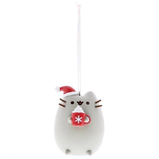 Pusheen, Pusheen Meowy Ornament, Pusheen mit Weihnachtsmütze und Tasse Anhänger, Weihnachtsanhänger, Christbaumanhänger, Christbaumschmuck, Tannenbaumanhänger