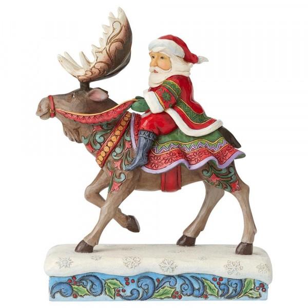 Heartwood Creek, Jim Shore, Merry-Christ-Moose, Santa Riding Moose, Rentier