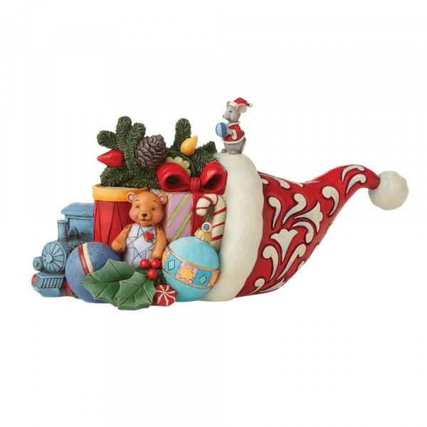 Jim Shore, Heartwood Creek, Jim Shore Weihnachten, 6008912, Christmas Hat Cornucopia, Weihnachtsmütze, Füllhorn, JIm Shore Santas, Jim Shore Weihnachtsmann, Heartwood Creek Weihnachtsmann