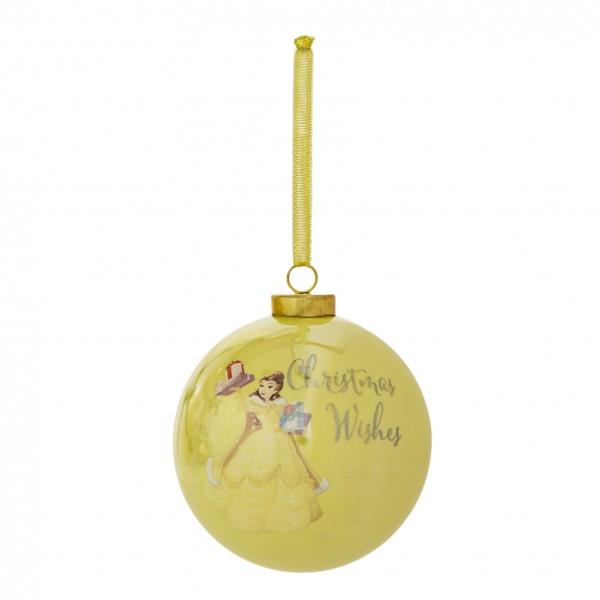 XM9495 - Walt Disney Weihnachtskugel - Prinzessin Belle mit Weihnachtsgeschenk - Die Kugel kommt in einer schönen Geschenkschachtel mit Fenster