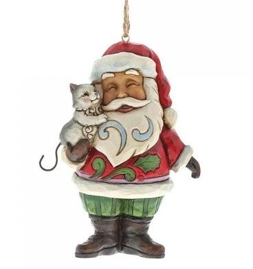 Heartwood Creek, Jim Shore, Santa with Cat Ornament, Weihnachtsmann mit Katze, Anhänger