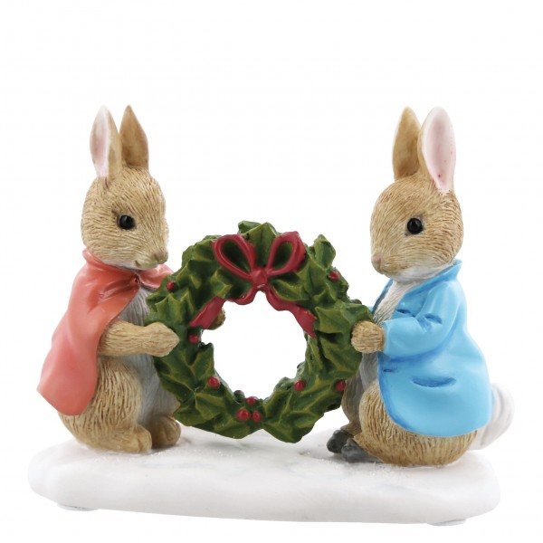 Beatrix Potter, Beatrix Potter Collection, Peter Rabbit, Benjamin Bunny, Flopsy, Jemima Puddle-Duck, Jeremy Fisher, A28966, Peter Rabbit and Flopsy Holding Holly Wreath