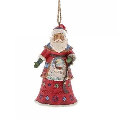 Heartwood Creek, Jim Shore, Lapland Santa with Bells Ornament, Weihnachtsmann Anhänger