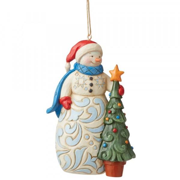 Jim Shore, Heartwood Creek, Jim Shore Weihnachten, 6009468, Snowman with Tree Ornament, Schneemann mit Tannenbaum Weihnachtsanhänger, Jim Shore Schneemann, Jim Shore Snowman, Heartwood Creek Snowman, Heartwood Creek Schneemann