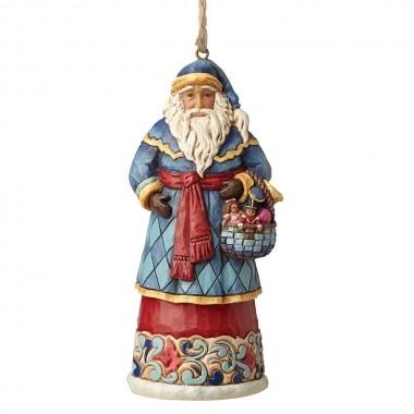 Heartwood Creek, Jim Shore, Santa with Basket Ornament, Anhänger, Weihnachtsmann