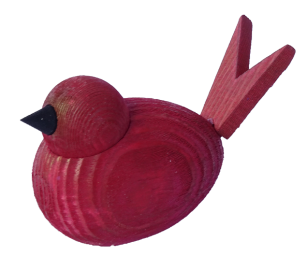 Sebastian Design, Candlering, Kerzenring, Skandinavischer Holzkranz, Skandinavische Kerzenringe, massiver dunkelroter Vogel, 46-180-924