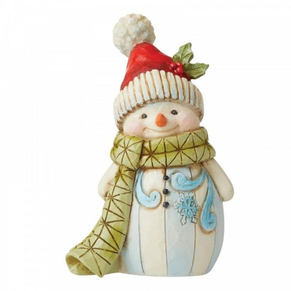 Heartwood Creek, Jim Shore, Snowman with Stocking Hat And Big Pom Pom, Schneemann mit Pom Pom Mütze