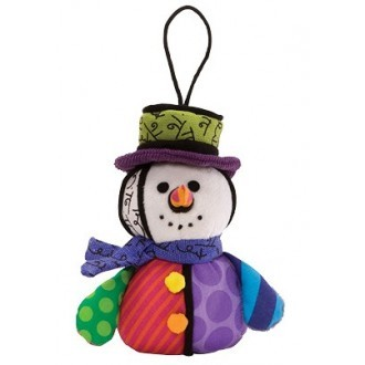 Romero Britto Pop Art aus Miami - Snowman Plush Ornament / Schneemann Anhänger