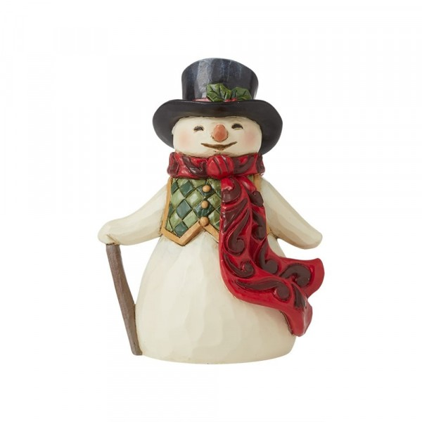 Jim Shore, Heartwood Creek, Jim Shore Weihnachten, 6009008, Mini Snowman with long scarf, Mini Schneemann mit langem Schal, Heartwood Creek Schneemann, Jim Shore Schneemann