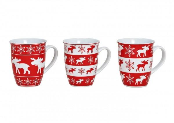 Kaffeebecher, Teebecher, Becher aus Porzellan, Weihnachtbecher, Weihnachtstasse, Becher mit Elch, 56829