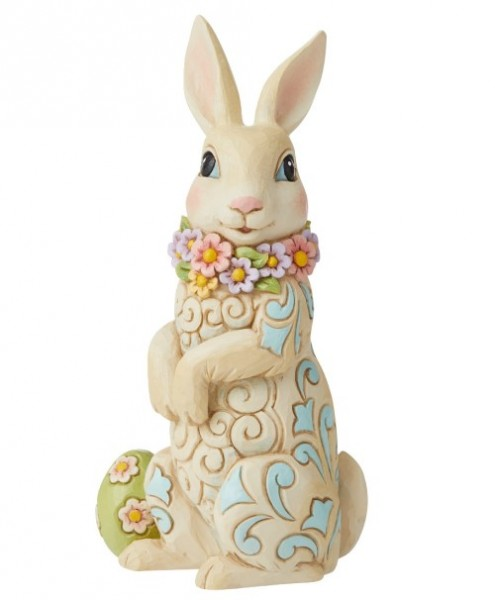 Jim Shore, Heartwood Creek, Jim Shore Heartwood Creek, Jim Shore Ostern, 6010278, Hoppin Down The Bunny Trail, Bunny Wearing Flowers, Osterhase mit Blumenschal, Jim Shore Ostern, Jim Shore Osterhase