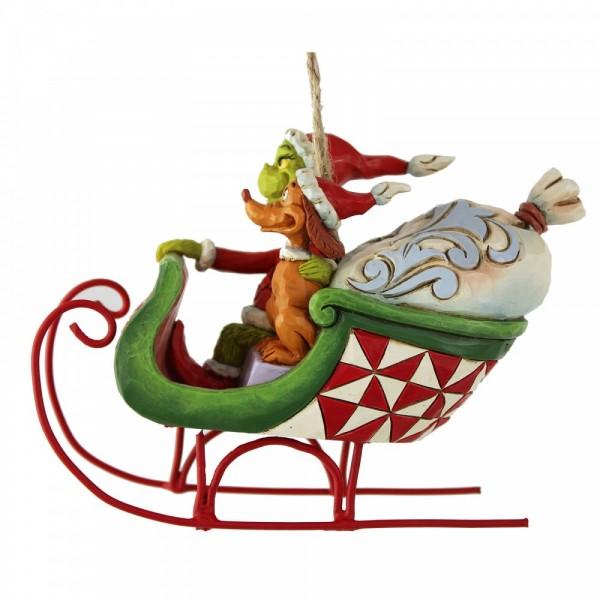 Grinch & Max im Schlitten Ornament / Grinch & Max in Sleigh