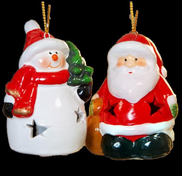 Widdop, The North Pole Novelties by Santa's Workshop, LED Weihnachtsanhänger, Weihnachtsmann Anhänger, Schneemann Anhänger, Tannenbaumanhänger, Christbaumschmuck, beleuchteter Weihnachtsschmuck, XM7543