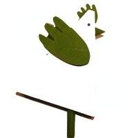 Hahn grün, dreieckig